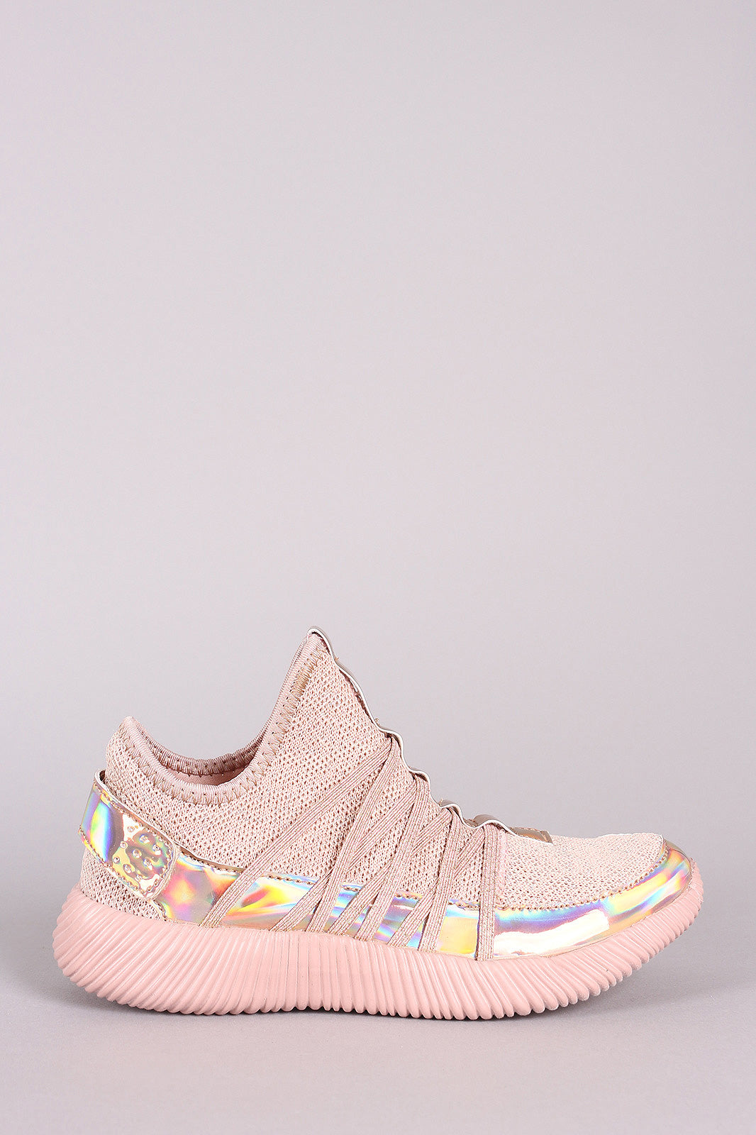 Holographic Knit Strappy Slip-On Rigged Sneaker