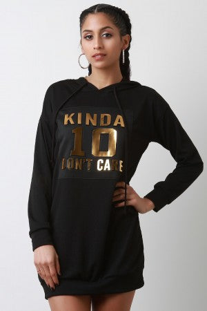 Kinda Don't Care Hoodie Sweater Dress