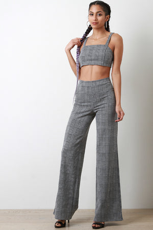 Glen Plaid Crop Top with Palazzo Pants Set