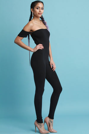 Short Sleeve Bardot Catsuit Jumpsuit