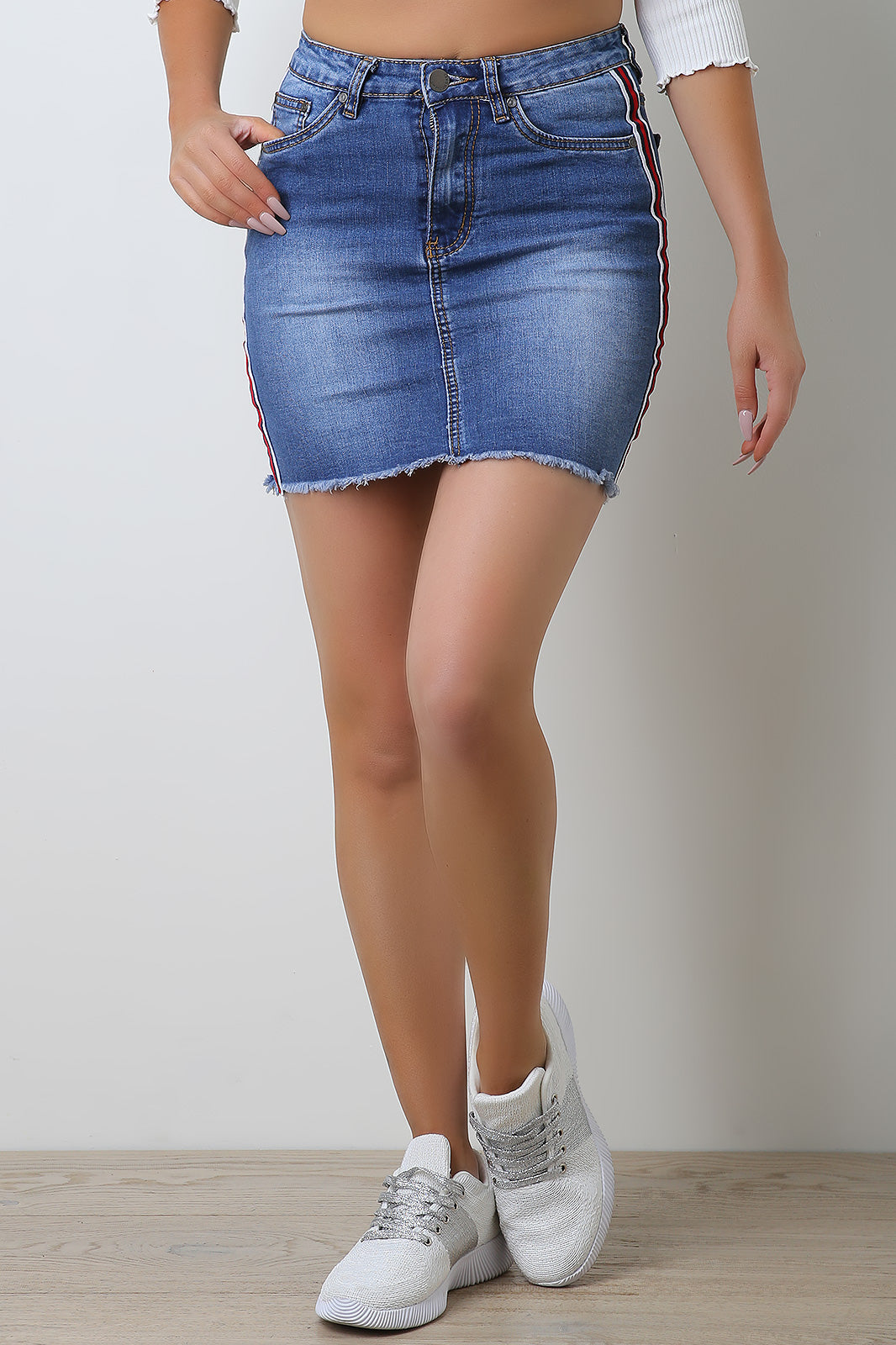 Ribbon Side Stripe Denim Skirt