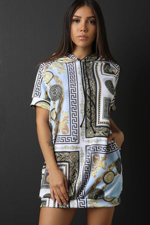 Graphic Print Short Sleeves Hooded Mini Dress