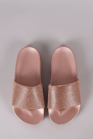 Qupid Rhinestone Embellished Open Toe Slide Sandal