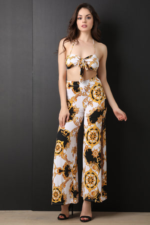 Filigree Wheel Print Halter Top With Slit Pants Set