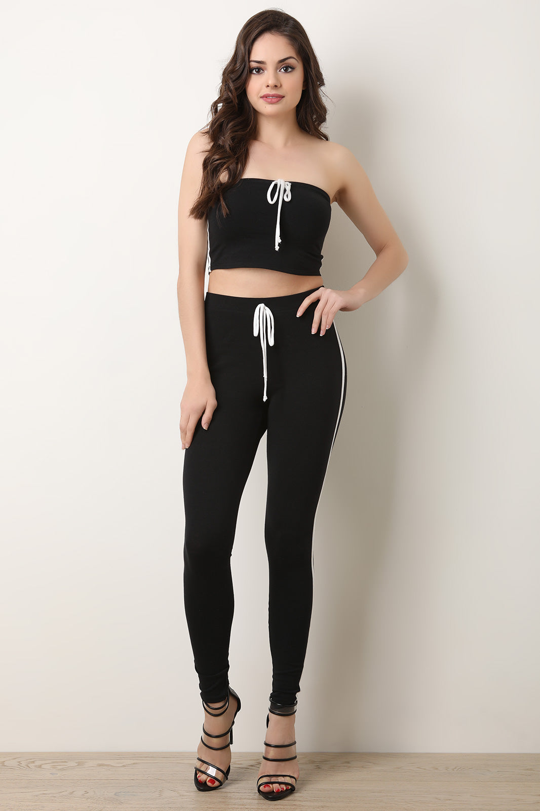 Side Stripe Crop Tube Top with High Rise Legging Set