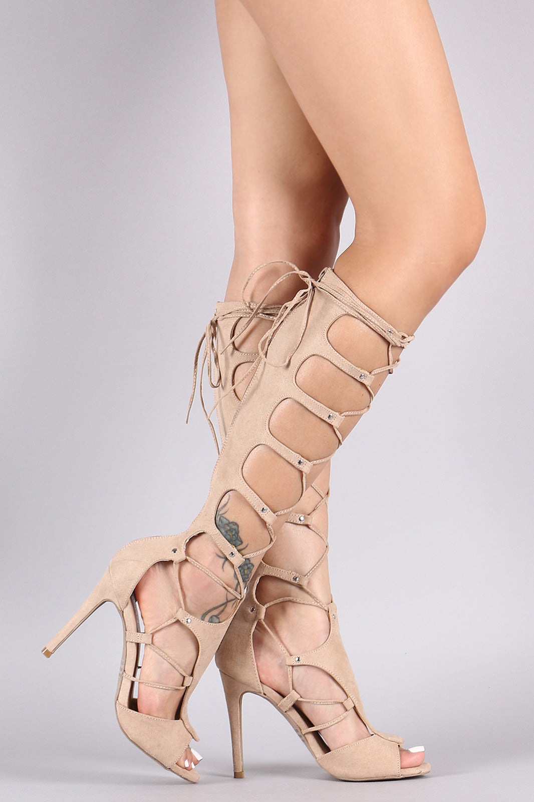 Wild Diva Lounge Suede Strappy Lace Up Stiletto Heel