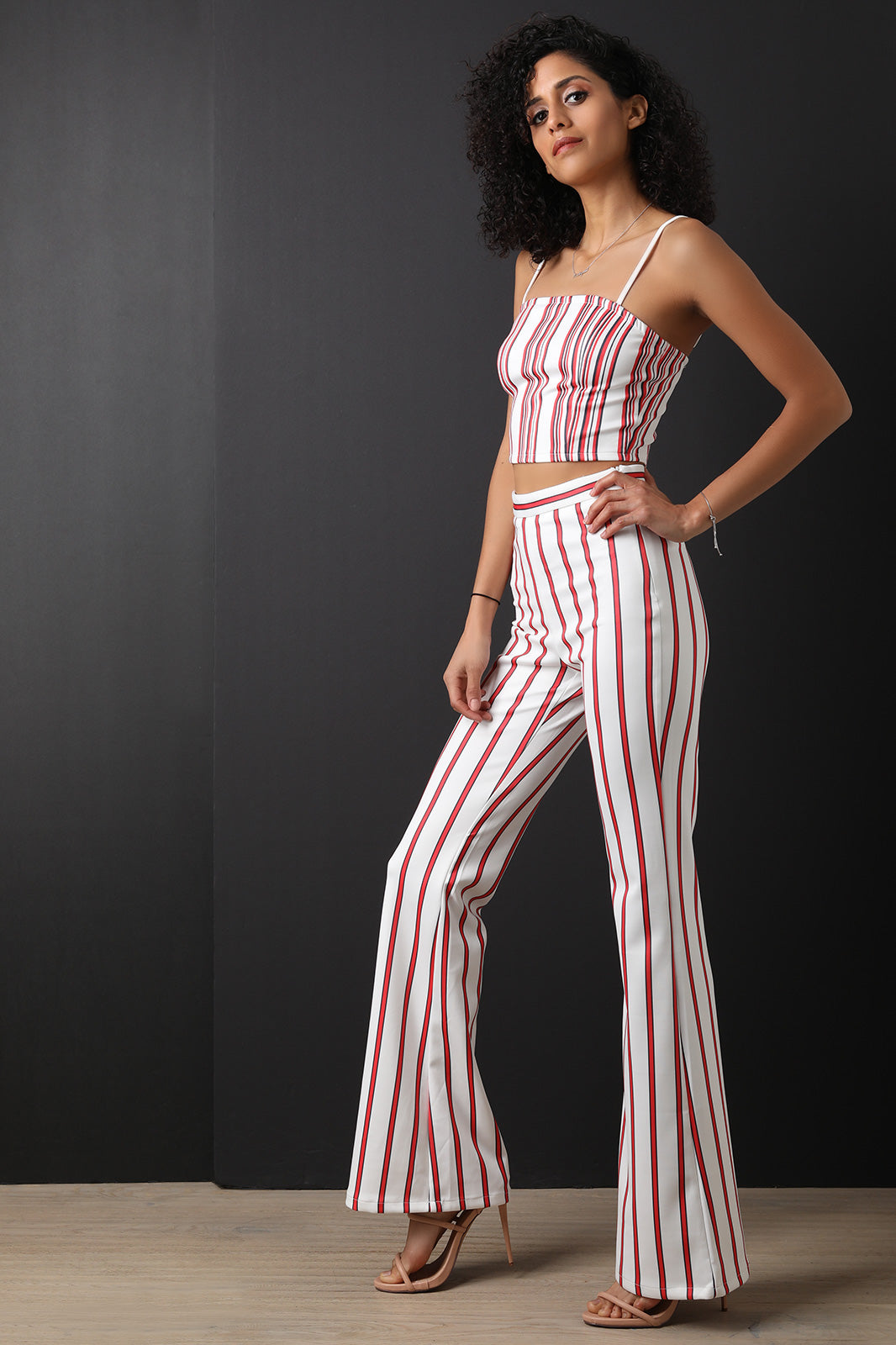 Scuba Knit Striped Crop Top With Flared Pants Set