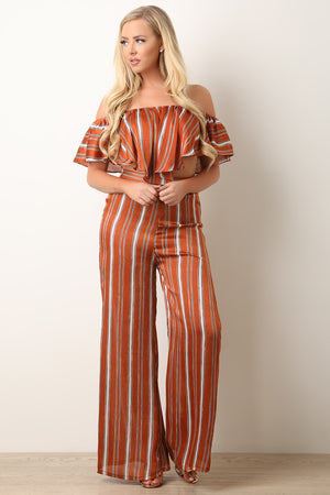 Striped Flutter Bardot Top with Palazzo Pants Set