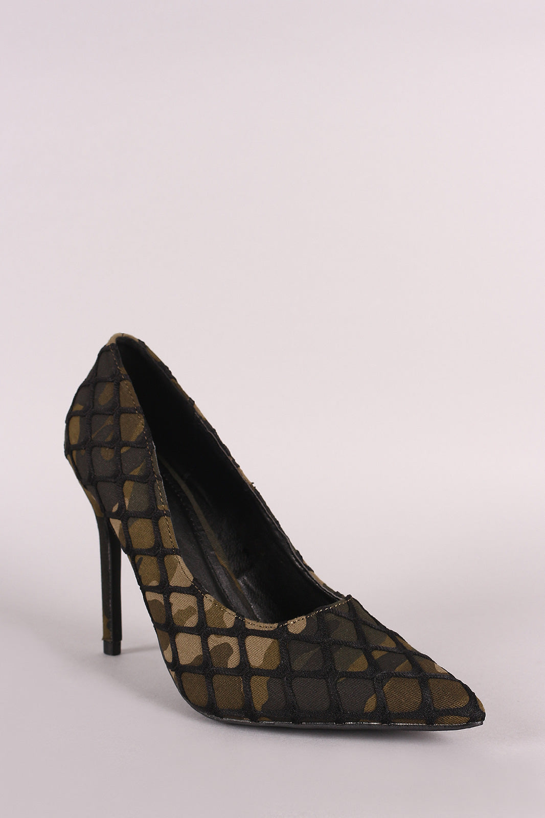 Netted Camouflage Pointy Toe Stiletto Pump