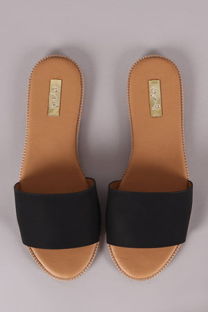 Qupid Nubuck Open Toe Slide Sandal