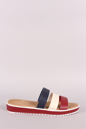 Bamboo Open Toe Strappy Tri-Color Slide Sandal