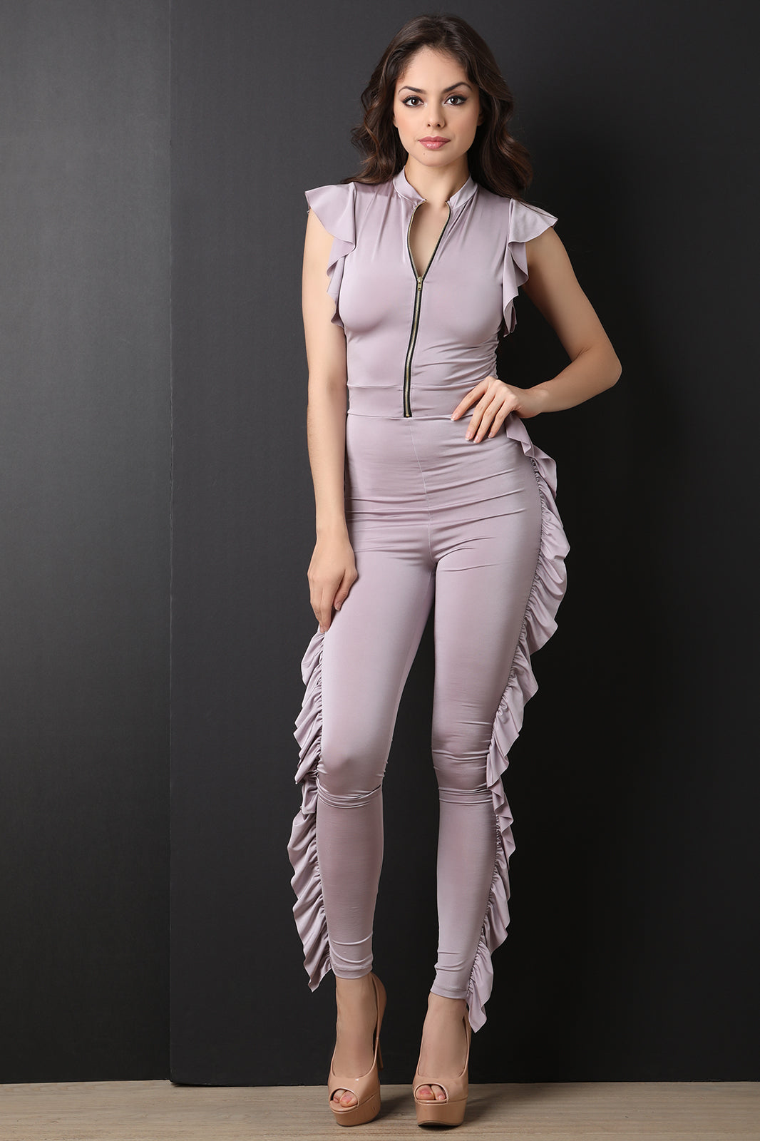 Ruffled Trim Zip-Up Fitted Jumpsuit