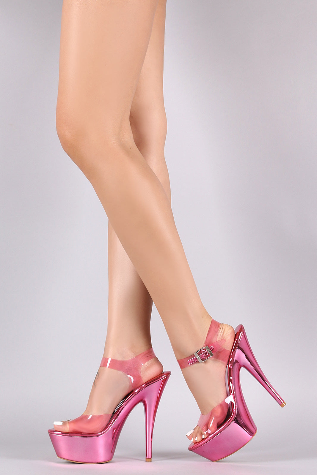 Transparent Ankle Strap Metallic Platform Stiletto Heel