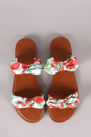 Tropical Print Bow Accent Double Band Slide Flat Sandal