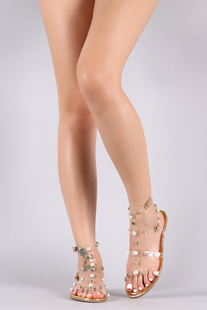 Liliana Patent Clear Pearl And Stud Gladiator Flat Sandal