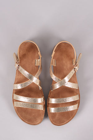 Bamboo Cracked Metallic Double Band Crisscross Flat Sandal
