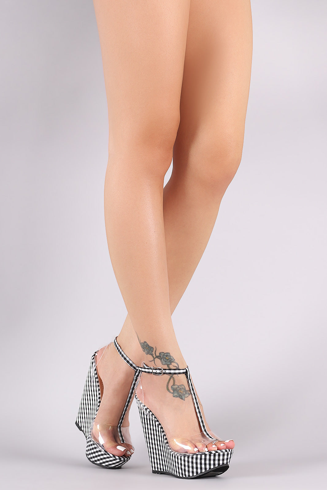 Plaid Print T-Strap Clear Band Platform Wedge