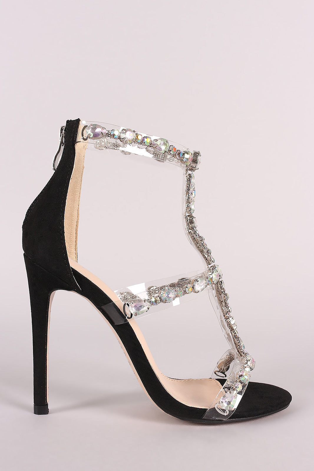 Qupid Clear Jewel Embellished T-Strap Stiletto Heel