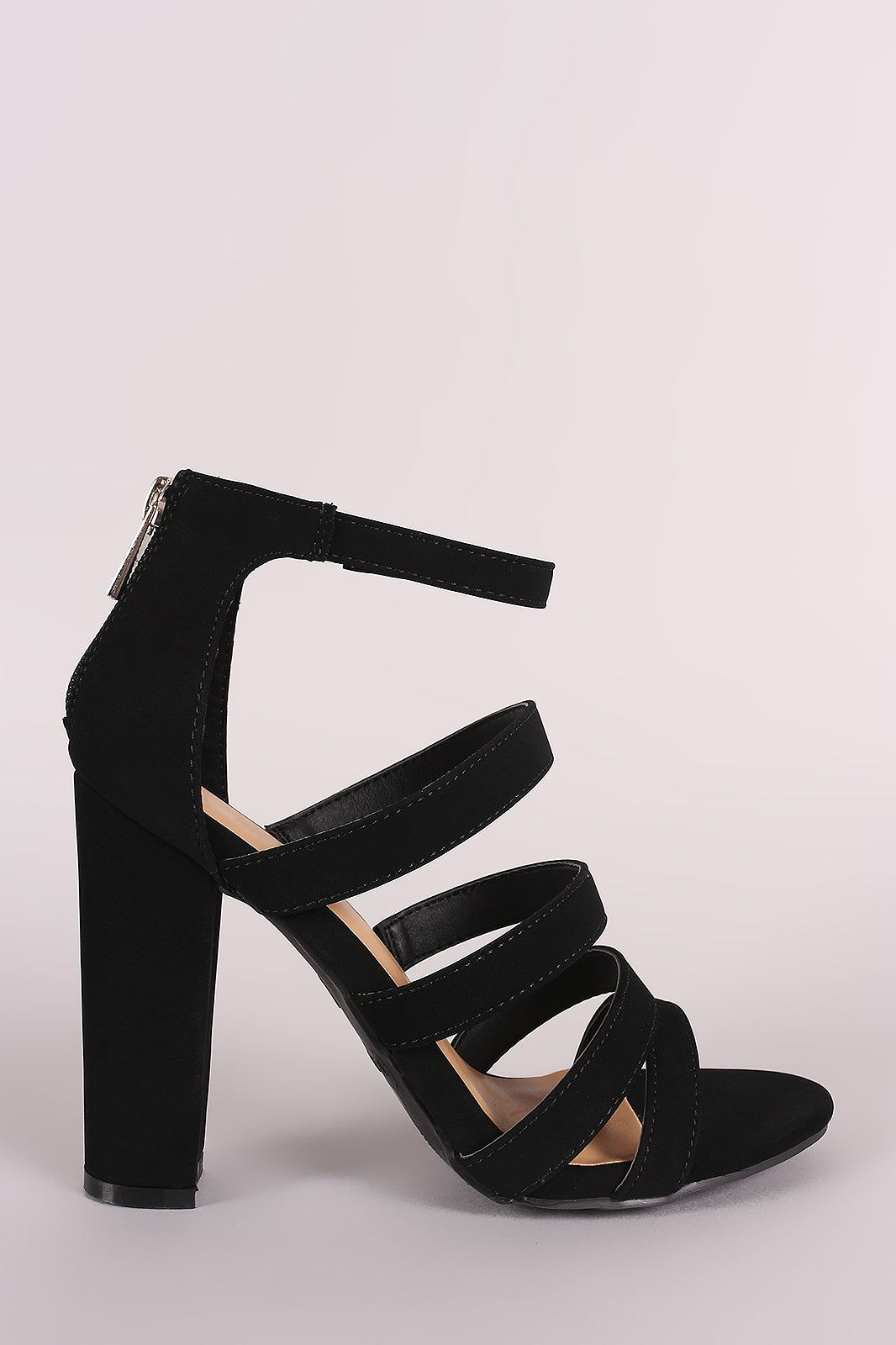 Bamboo Strappy Nubuck Ladder-Up Chunky Heel