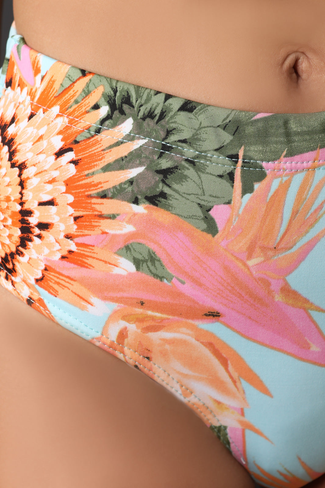 Tropical Floral High Waisted Bikini With Cardigan Set