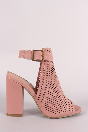 Bamboo Perforated Nubuck Chunky Mule Heel