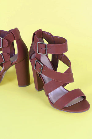 Nubuck Open Toe Strappy Buckled Chunky Heel