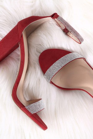 Wild Diva Lounge Suede Rhinestone Ankle Strap Chunky Heel
