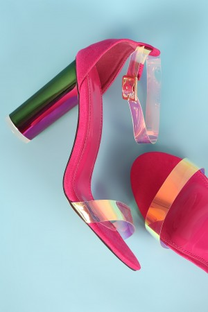 Liliana Suede Holographic Clear Ankle Strap Chunky Heel