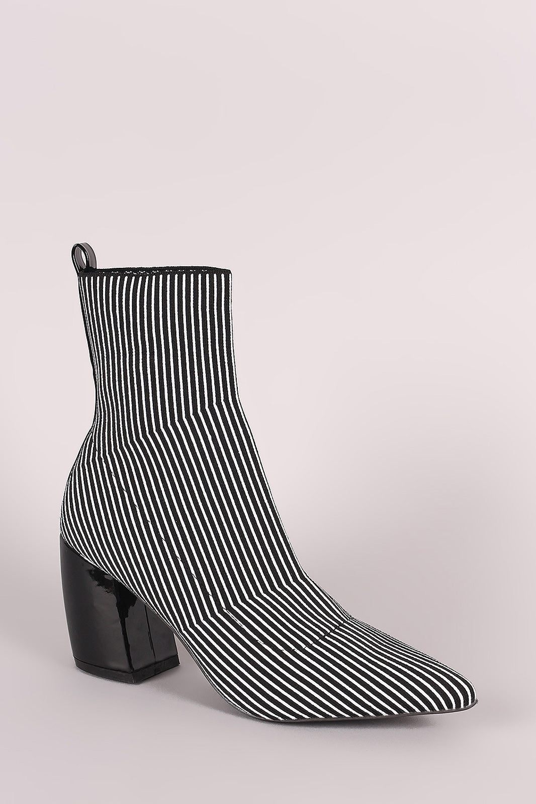 Qupid Striped Elastic Pointy Toe Sock Booties
