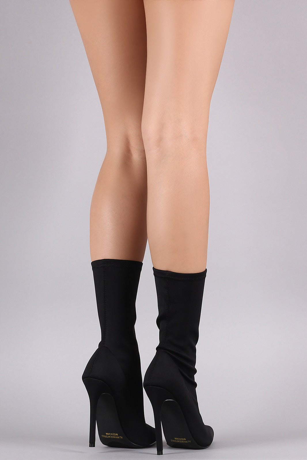 Liliana Elastane Pointy Toe Stiletto Mid Calf Boots