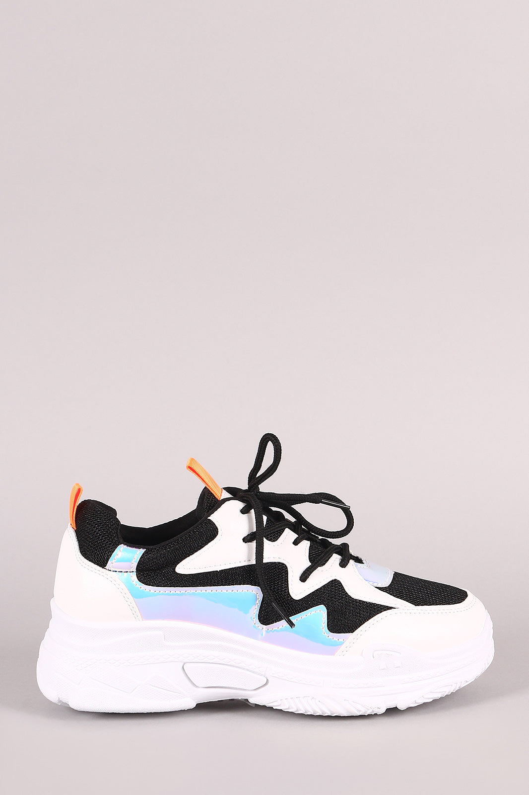 Vegan Leather Mesh Trim Holographic Lace-Up Sneaker