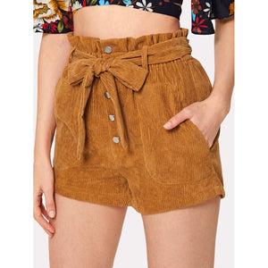 Tie Waist Button Up Corduroy Shorts
