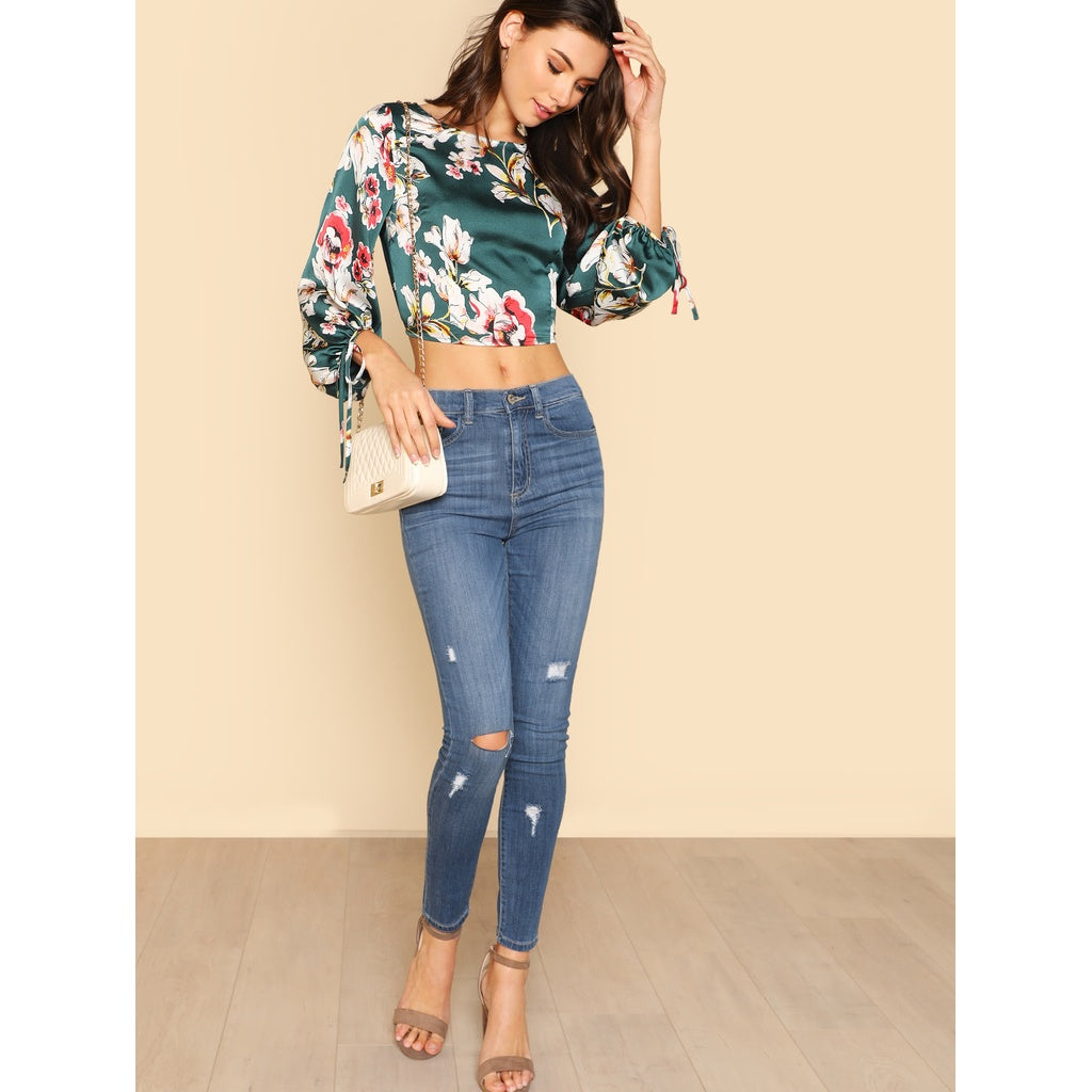 Lantern Sleeve Tied Open Back Floral Top