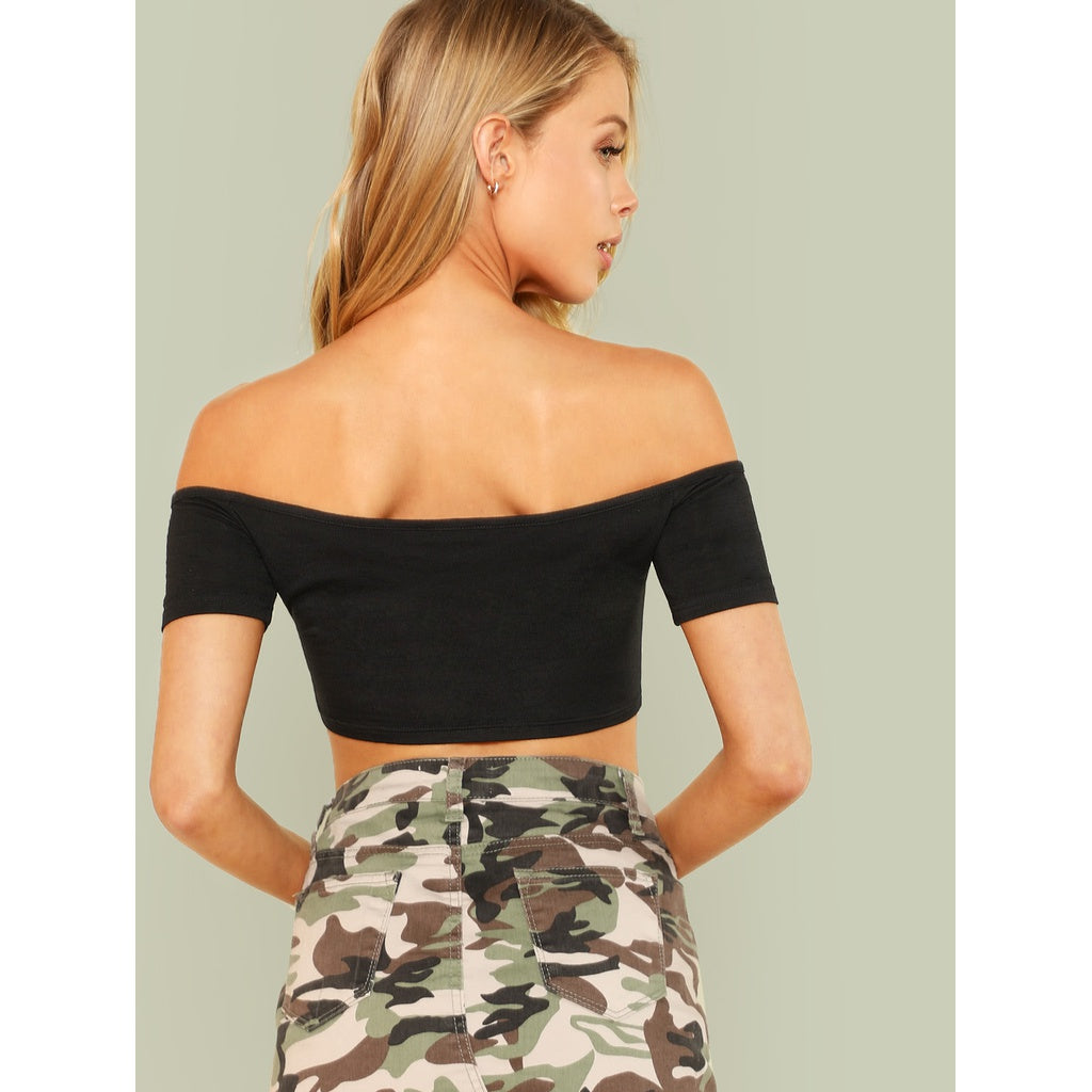 Shirred Drawstring Front Crop Bardot Top