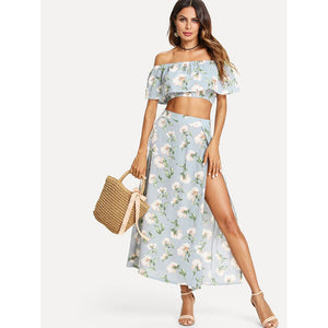 Bardot Floral Print Crop Top With Slit Side Skirt