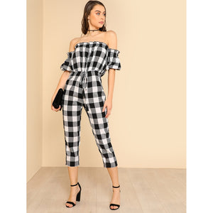 Drawstring Waist Plaid Bardot Jumpsuit
