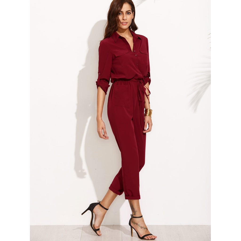 Tie Waist Pocket Rolled Sleeve Jumpsuit