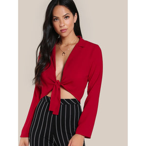 Knot Front Plunging Crop Blouse