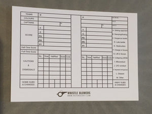 Match Scorecards for Rugby Referees