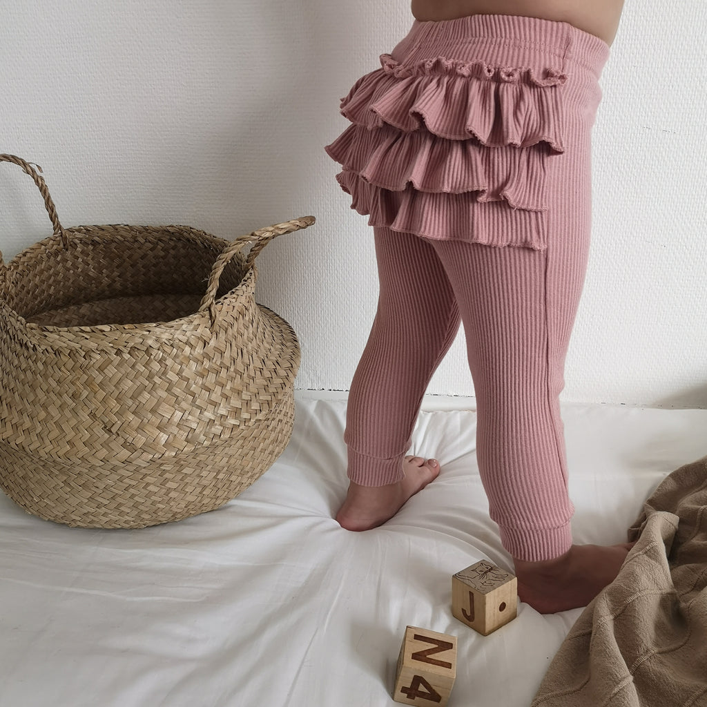 'Ruffly' Leggings | Antique Rose