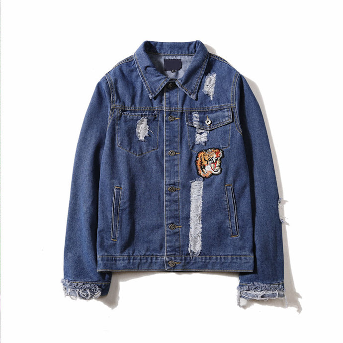 Tiger Embroidery Ripped Jacket