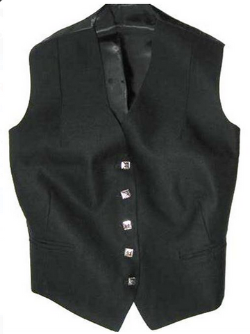 Ladies 5 Button Vest - Black 1
