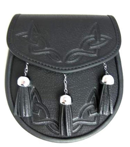 Leather Sporran with Embossed Front and Chain-Link Tassels 1