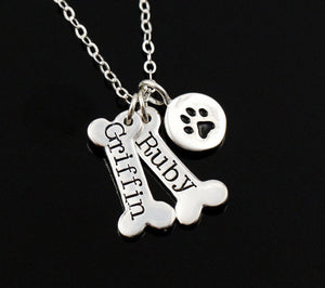 This Dog Paw and Bone Engraved Pendant Necklace silver