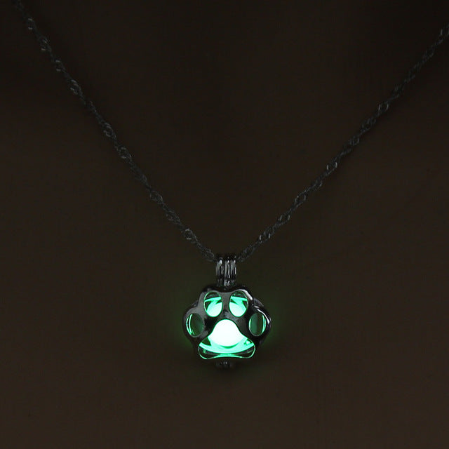 Glow in Dark Paw Print Necklace 2 by Holy Lady www.holyladyboss.com