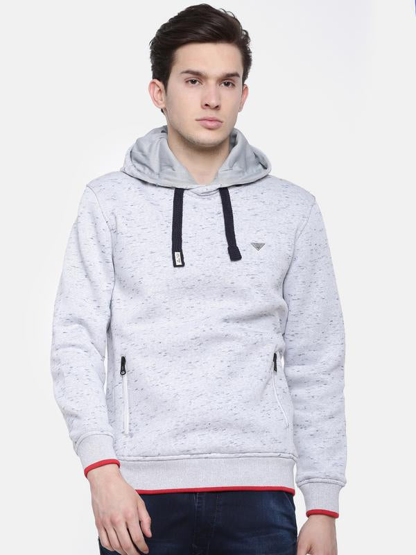 t-base White Printed Hooded Sweatshirt
