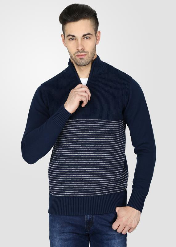Half Zip Striped Sweater