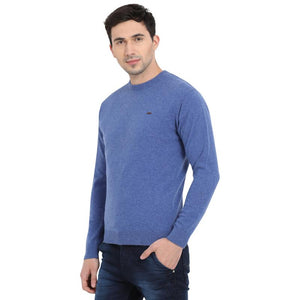 t-base Bright Blue Round Neck Solid Sweater
