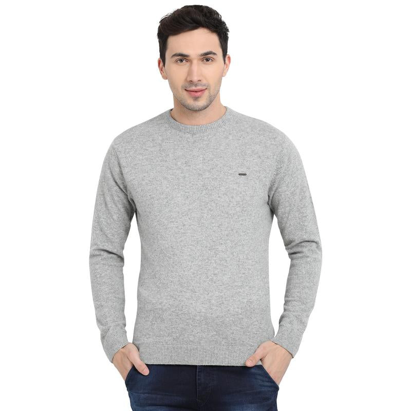 t-base Light Grey Round Neck Solid Sweater