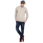 t-base Natural Mock Collar Solid Sweater
